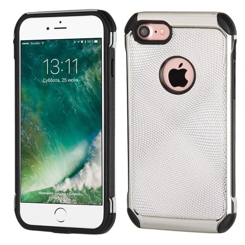 Insten Hard Dual Layer TPU Cover Case For Apple iPhone 7/iPhone 8, Silver/Black