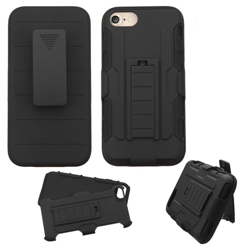 Insten Hard Hybrid Plastic Silicone Case w/Holster For Apple iPhone 7/iPhone 8, Black