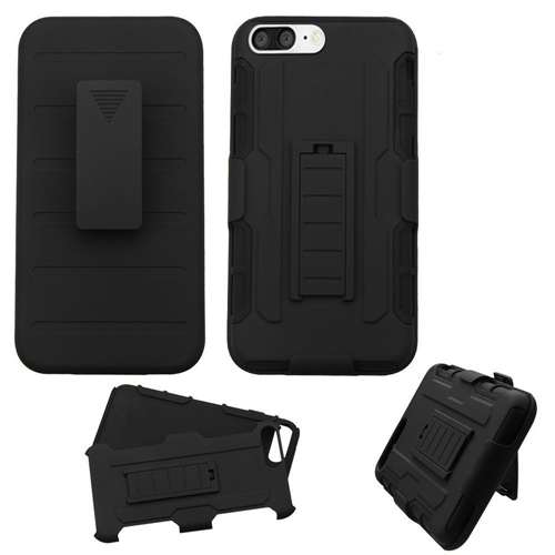 Insten Hard Hybrid Plastic Silicone Case w/Holster For Apple iPhone 7 Plus/8 Plus, Black