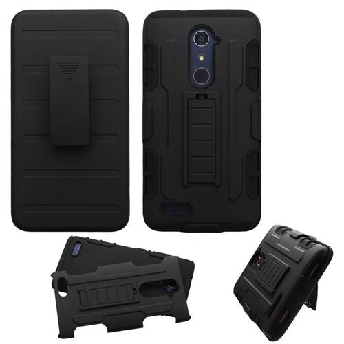 Insten Hard Dual Layer Plastic Silicone Cover Case w/Holster For ZTE Zmax Pro, Black