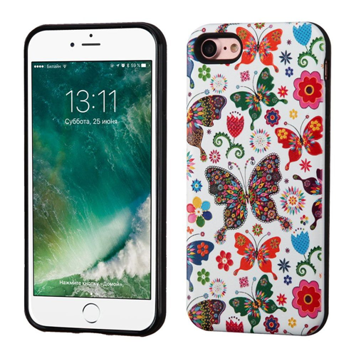 Insten Butterfly Wonderland Hard Hybrid TPU Case For Apple iPhone 7/iPhone 8, Purple/White
