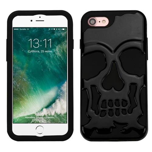 Insten Skullcap Hard Hybrid Rubber Silicone Case For Apple iPhone 7, Black