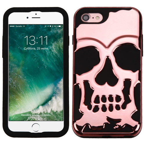 Insten Skullcap Hard Dual Layer Rubber Silicone Case For Apple iPhone 7/iPhone 8, Rose Gold/Black