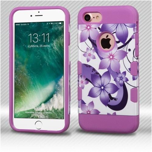 Insten Hibiscus Flower Romance Hard TPU Case For Apple iPhone 7/iPhone 8, Purple/White