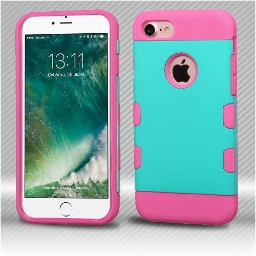 Insten Hard TPU Case For Apple iPhone 7/iPhone 8, Teal/Pink