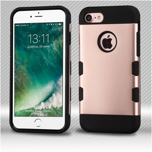 Insten Hard TPU Cover Case For Apple iPhone 7/iPhone 8, Rose Gold/Black