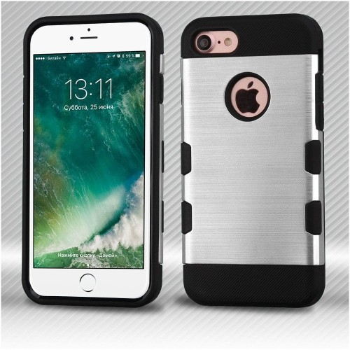 Insten Hard TPU Case For Apple iPhone 7/iPhone 8, Silver/Black