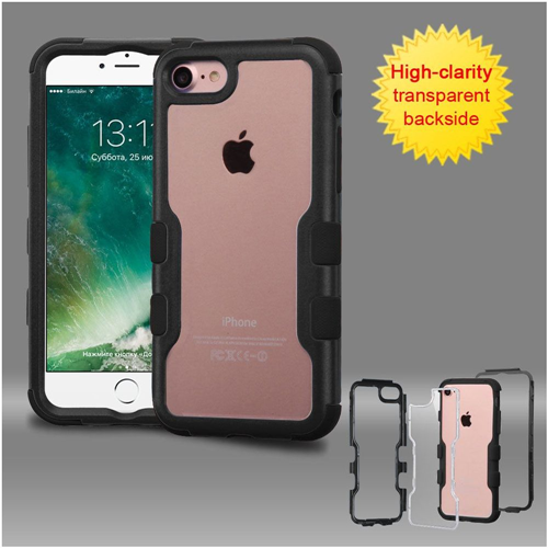 Insten Hard Dual Layer Crystal Silicone Case For Apple iPhone 7/iPhone 8, Clear/Black