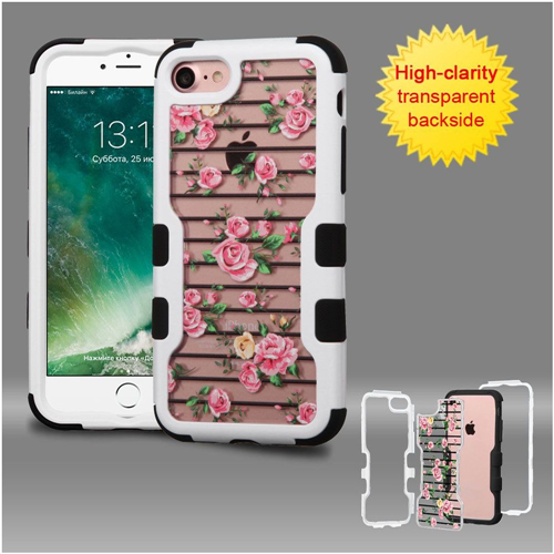 Insten Fresh Roses Hard Dual Layer Rubber Silicone Case For Apple iPhone 7/iPhone 8, Pink/White
