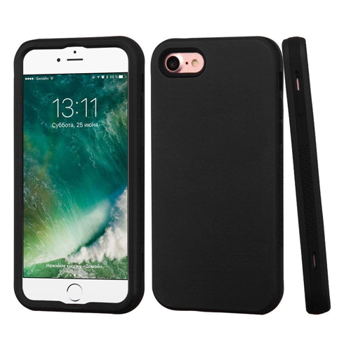 Insten Verge Hard Hybrid Rubber Coated Silicone Case For Apple iPhone 7/iPhone 8, Black