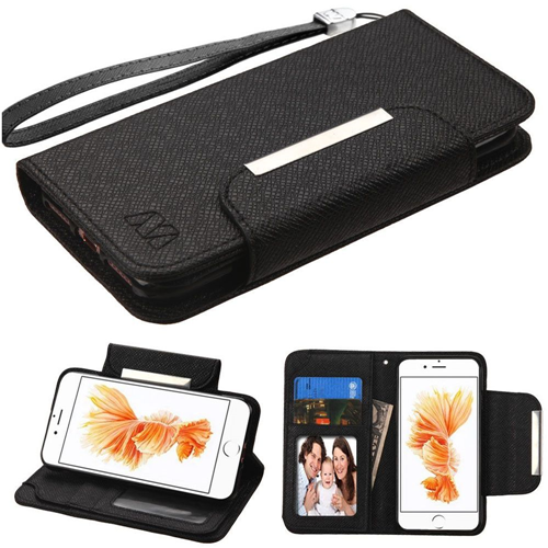 Insten Flip Leather Fabric Case Lanyard w/stand/card slot For Apple iPhone 7 Plus/8 Plus,Black
