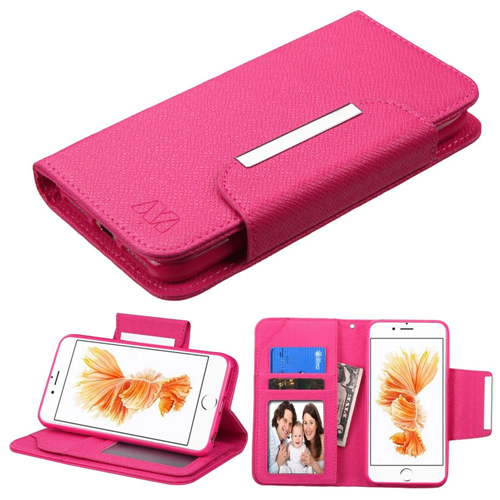 Insten Leather Fabric Case Lanyard w/stand/card holder For Apple iPhone 7 Plus/8 Plus,Hot Pink