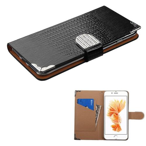 Insten Flip Leather Crocodile Skin Case w/card slot/Diamond For Apple iPhone 7 Plus/8 Plus, Black