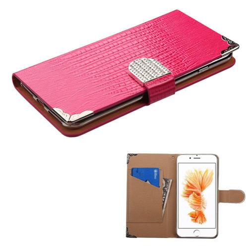 Insten Folio Leather Crocodile Case w/card holder/Diamond For Apple iPhone 7 Plus/8 Plus, Hot Pink