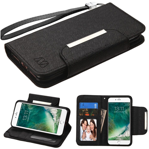 Insten Leather Fabric Case Lanyard w/stand/card slot For Apple iPhone 7/iPhone 8,Black