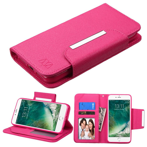 Insten Folio Leather Fabric Case Lanyard w/stand/card slot For Apple iPhone 7/iPhone 8,Hot Pink