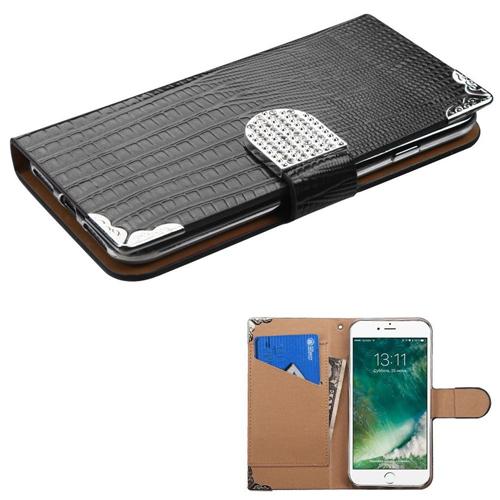 Insten Flip Leather Crocodile Skin Case w/card holder/Diamond For Apple iPhone 7/iPhone 8, Black