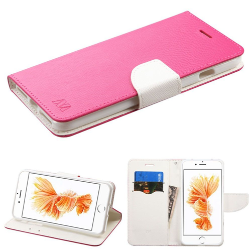 Insten Flip Leather Fabric Case w/stand/card slot For Apple iPhone 7 Plus/8 Plus, Hot Pink/White