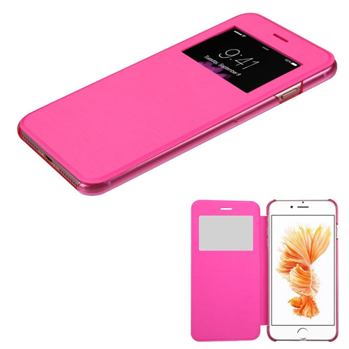 Insten Book-Style Leather Fabric Cover Case For Apple iPhone 7 Plus/8 Plus, Hot Pink