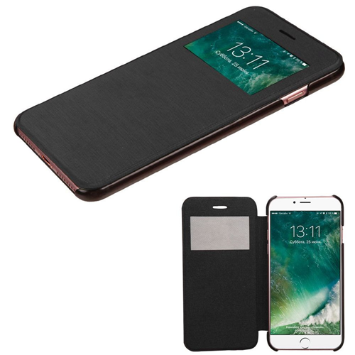 Insten Folio Leather Fabric Cover Case For Apple iPhone 7/iPhone 8, Black