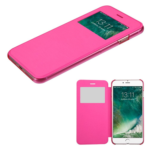 Insten Folio Leather Fabric Case For Apple iPhone 7/iPhone 8, Hot Pink