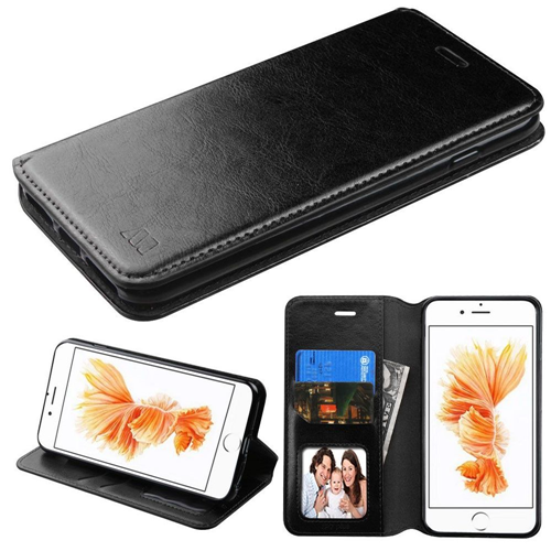 Insten Flip Leather Fabric Case w/stand/card holder For Apple iPhone 7 Plus/8 Plus, Black
