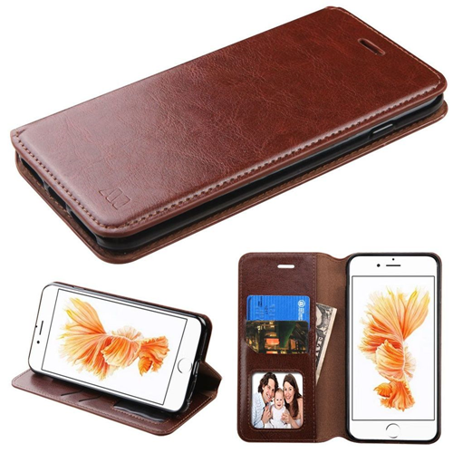 Insten Leather Fabric Case w/stand/card holder For Apple iPhone 7 Plus/8 Plus,Brown