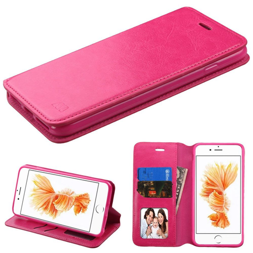 Insten Flip Leather Fabric Case w/stand/card slot For Apple iPhone 7 Plus/8 Plus, Hot Pink