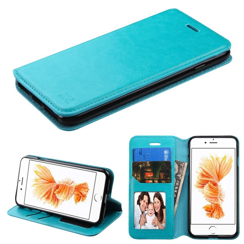 Insten Folio Leather Fabric Case w/stand/card slot For Apple iPhone 7 Plus/8 Plus, Blue
