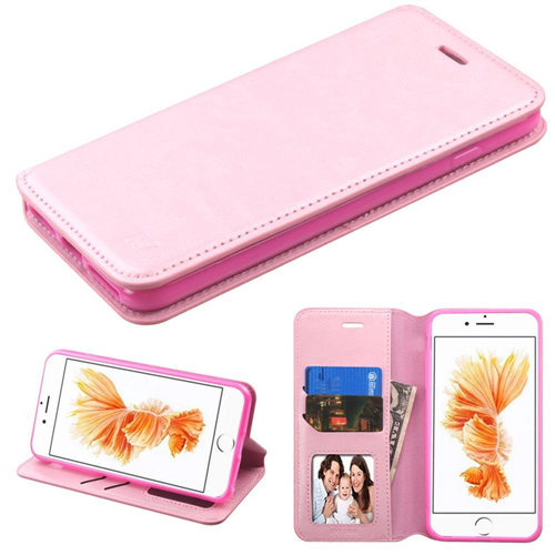 Insten Folio Leather Fabric Case w/stand/card holder For Apple iPhone 7 Plus/8 Plus, Pink