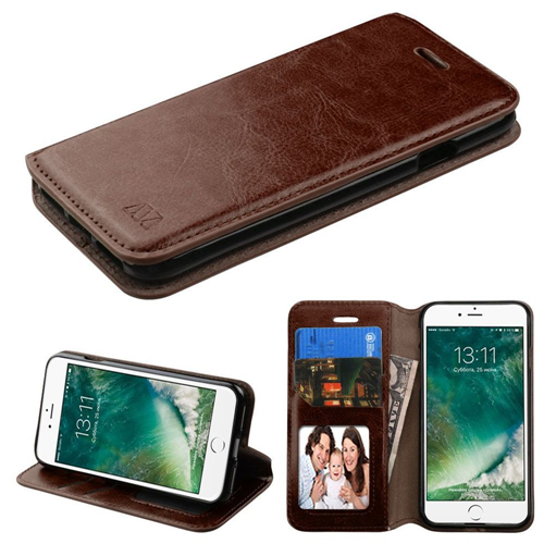 Insten Leather Fabric Case w/stand/card slot For Apple iPhone 7/iPhone 8,Brown