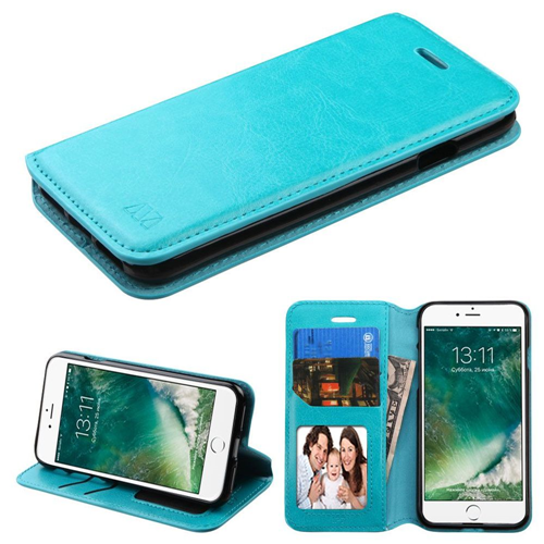 Insten Leather Fabric Case w/stand/card holder For Apple iPhone 7/iPhone 8,Blue
