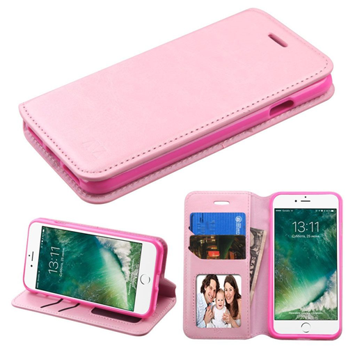 Insten Folio Leather Fabric Case w/stand/card slot/Photo Display For Apple iPhone 7/iPhone 8, Pink
