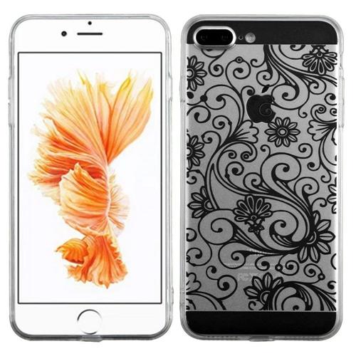 Insten Four-leaf Clover Gel Cover Case For Apple iPhone 7 Plus/8 Plus, Black
