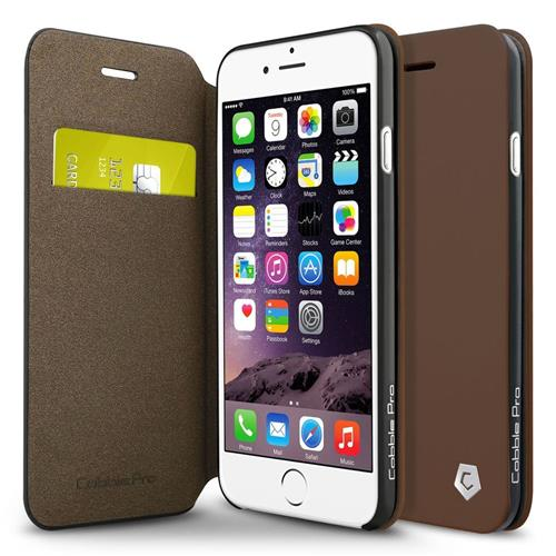 Cobble Pro Book-Style Leather Fabric Case w/stand/card holder For Apple iPhone 6/6s, Brown