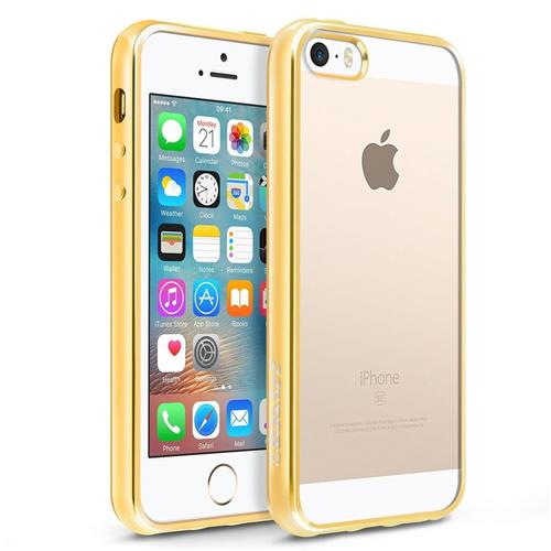 BasAcc Gel Cover Case For Apple iPhone 5/5S/SE, Clear/Gold