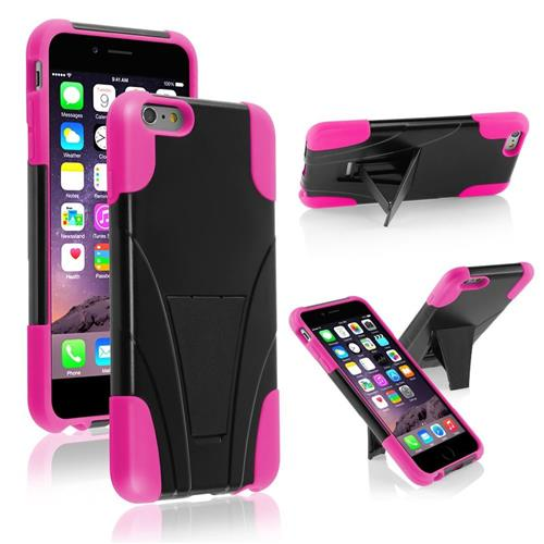 Insten Hard Dual Layer Plastic Silicone Case w/stand For Apple iPhone 6 Plus, Black/Pink