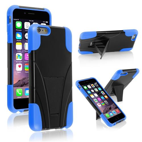 Insten Hard Hybrid Plastic Silicone Cover Case w/stand For Apple iPhone 6 Plus, Black/Blue