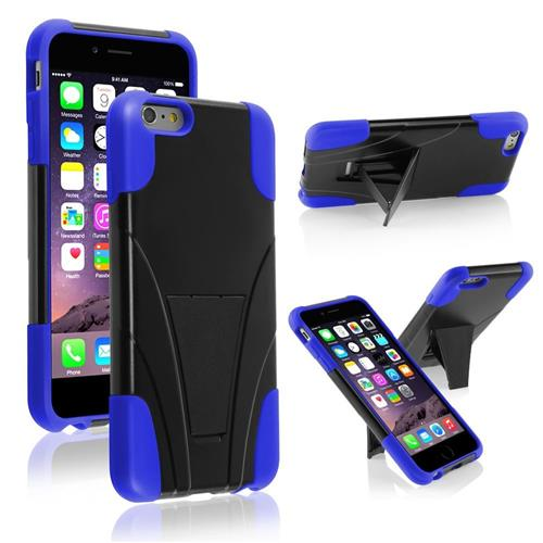 Insten Hard Hybrid Plastic Silicone Case w/stand For Apple iPhone 6 Plus, Black/Blue