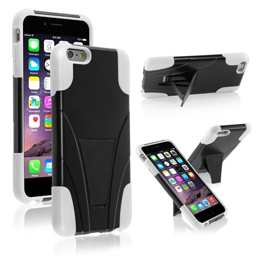 Insten Hard Dual Layer Plastic Silicone Cover Case w/stand For Apple iPhone 6 Plus, Black/White