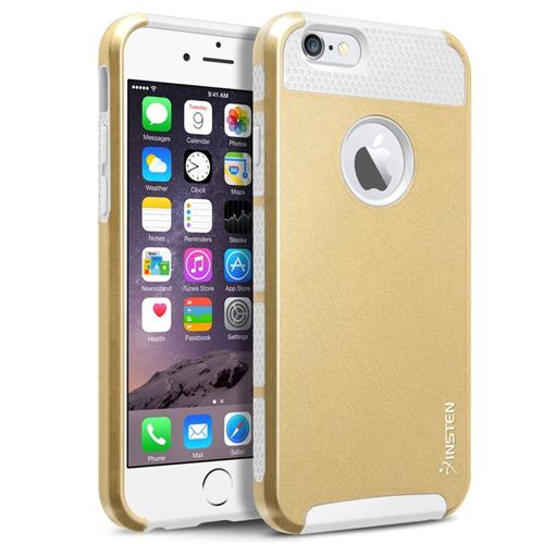Insten Hard Hybrid Plastic Silicone Cover Case For Apple iPhone 6/6s, Gold/White