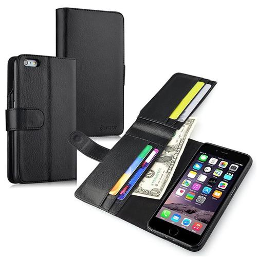 Insten Leather Fabric Case w/card holder For Apple iPhone 6 Plus/6s Plus,Black