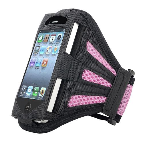Insten Deluxe Sportband for Apple iPhone 4 / 4S / 3G / 3GS / iPod touch, Black / Light Pink