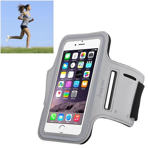 Insten Universal Sportband with built-in key holder, Silver