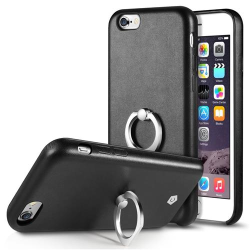 Cobble Pro Leather Fabric Case w/Ring stand For Apple iPhone 6/6s, Black