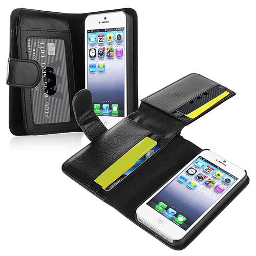 Insten Folio Leather Cover Case w/card slot/Photo Display For Apple iPhone 5/5S/SE, Black
