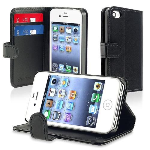 Insten Flip Leather Cover Case w/stand/card slot For Apple iPhone 4/4S, Black