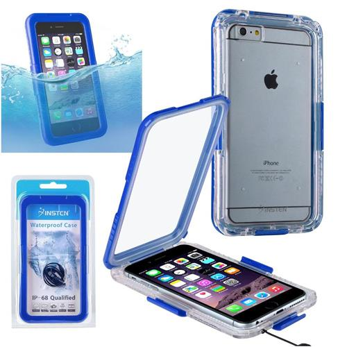 Insten Hard Plastic Waterproof Case Lanyard For Apple iPhone 6 Plus/6s Plus, Clear/Blue