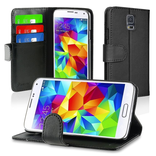 best sneakers 2f2e6 1603d Insten Book-Style Leather Cover Case w stand card slot For Samsung Galaxy  S5, Black
