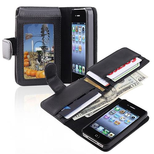 Insten Folio Leather Case w/card slot/Photo Display For Apple iPhone 4/4S, Black
